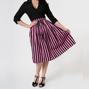 Pink & Black Striped Gathered Cotton Swing Skirt